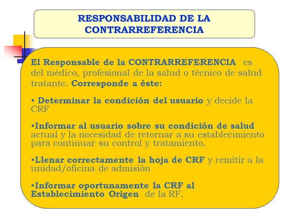 RESPONSABILIDAD DE LA CONTRARREFERENCIA