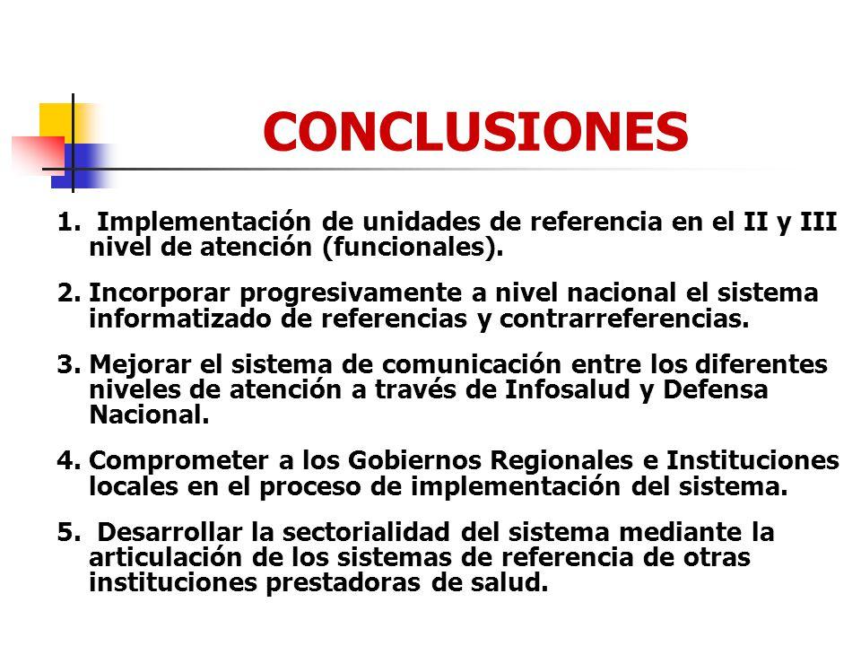 CONCLUSIONES 1. Implementación de unidades de referencia en el II y III nivel de atención (funcionales).