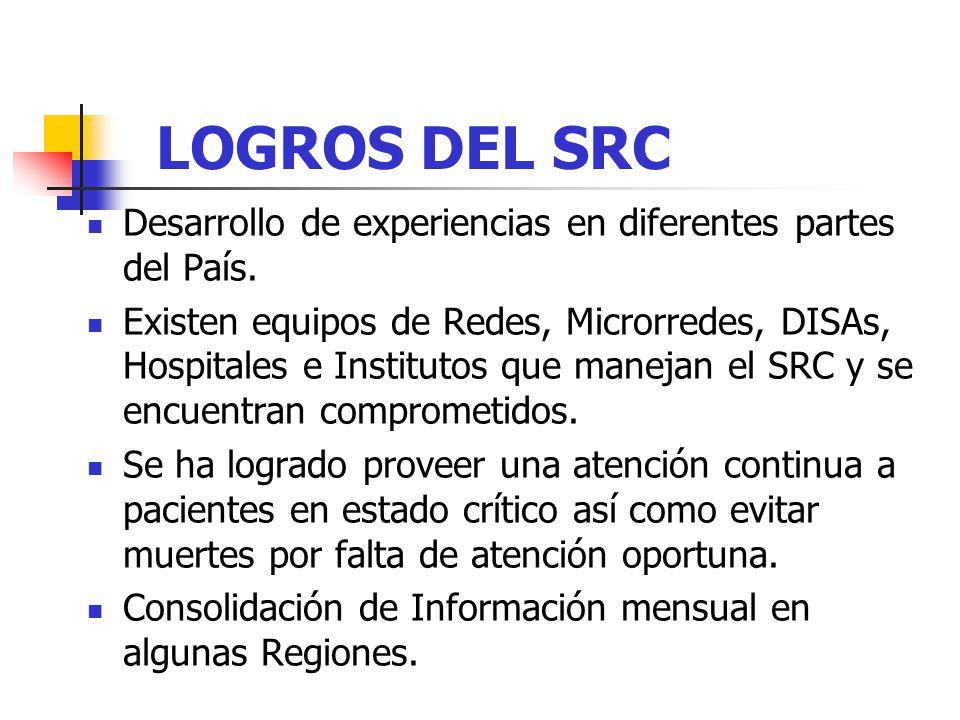 LOGROS DEL SRC Desarrollo de experiencias en diferentes partes del País.