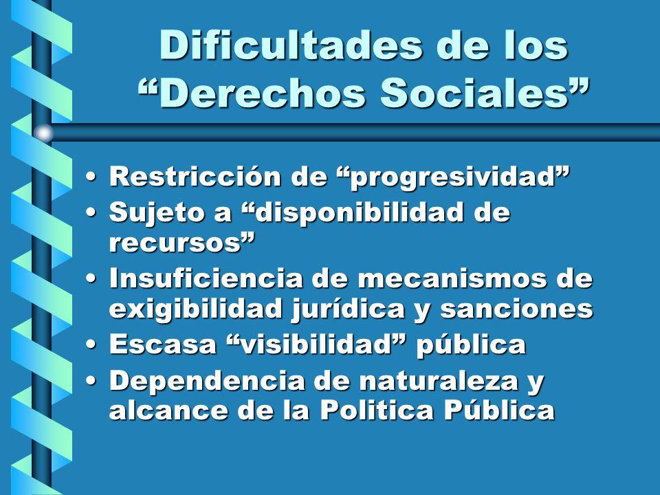 Dificultades de los Derechos Sociales