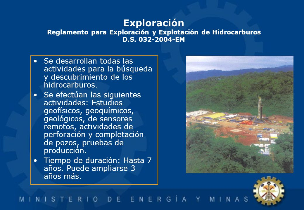 Exploración Reglamento para Exploración y Explotación de Hidrocarburos D.S. 032-2004-EM