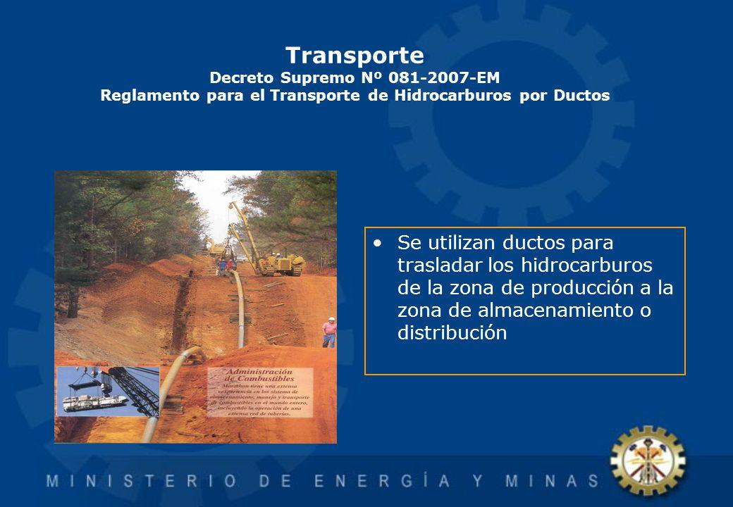 Transporte Decreto Supremo Nº 081-2007-EM Reglamento para el Transporte de Hidrocarburos por Ductos