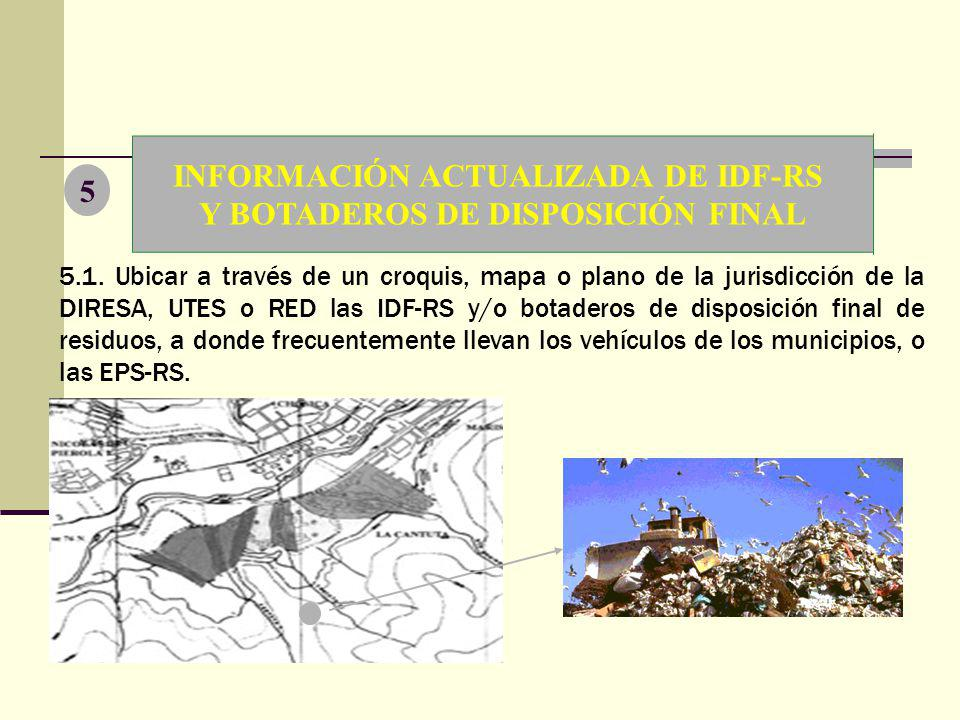 INFORMACIÓN ACTUALIZADA DE IDF-RS Y BOTADEROS DE DISPOSICIÓN FINAL
