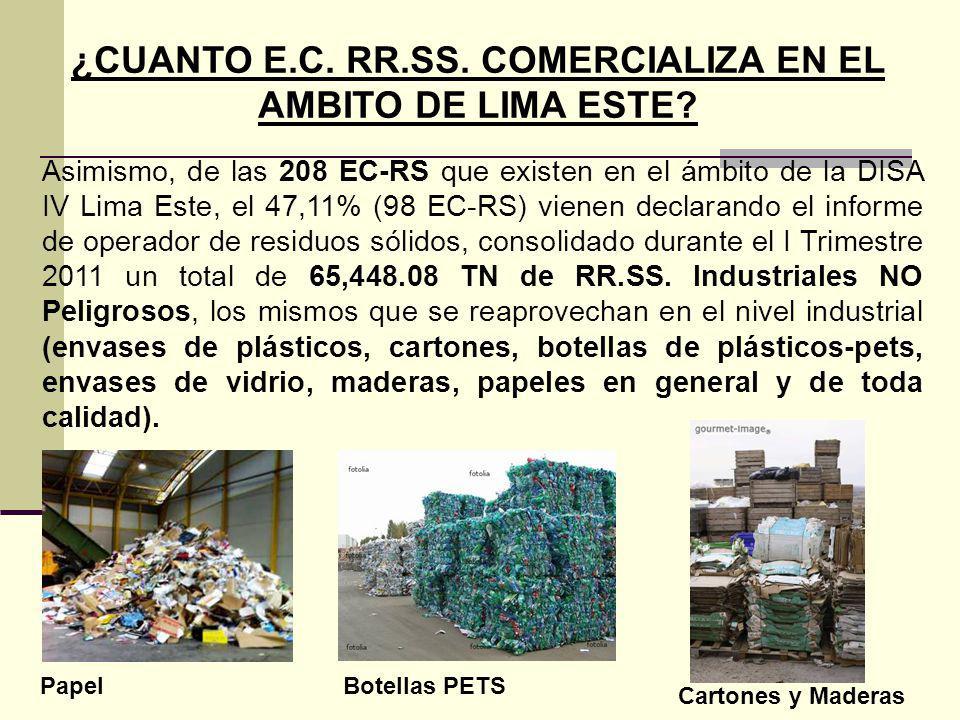 ¿CUANTO E.C. RR.SS. COMERCIALIZA EN EL AMBITO DE LIMA ESTE