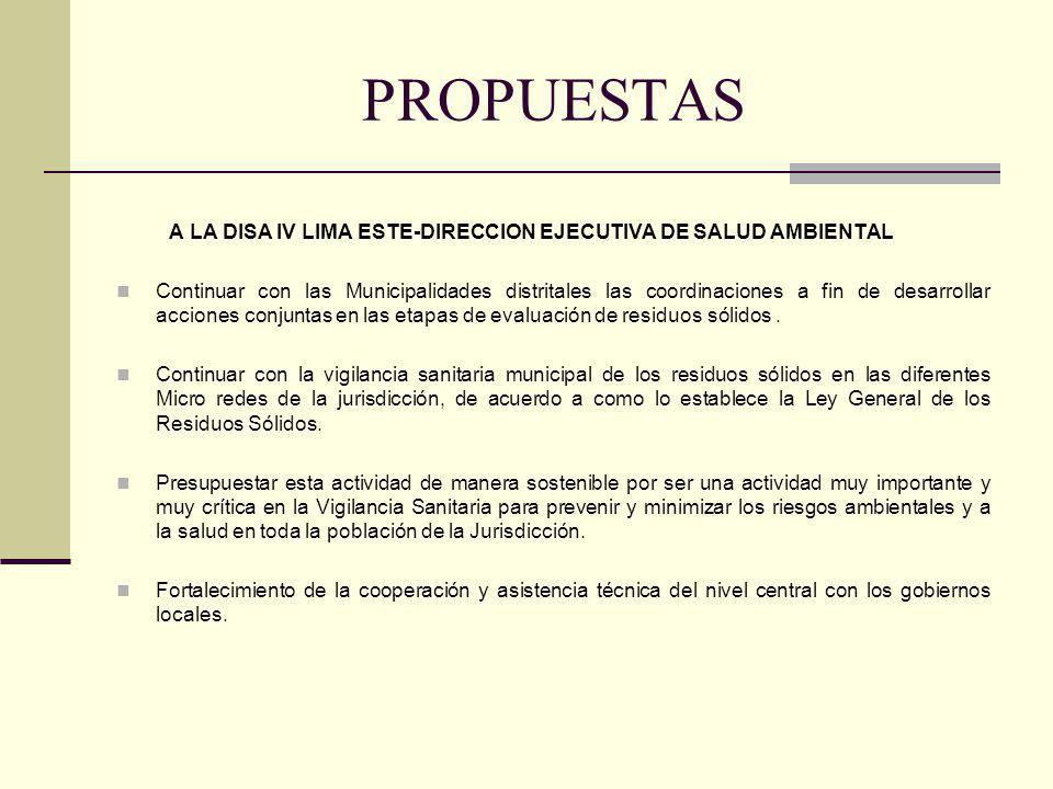 PROPUESTAS A LA DISA IV LIMA ESTE-DIRECCION EJECUTIVA DE SALUD AMBIENTAL.