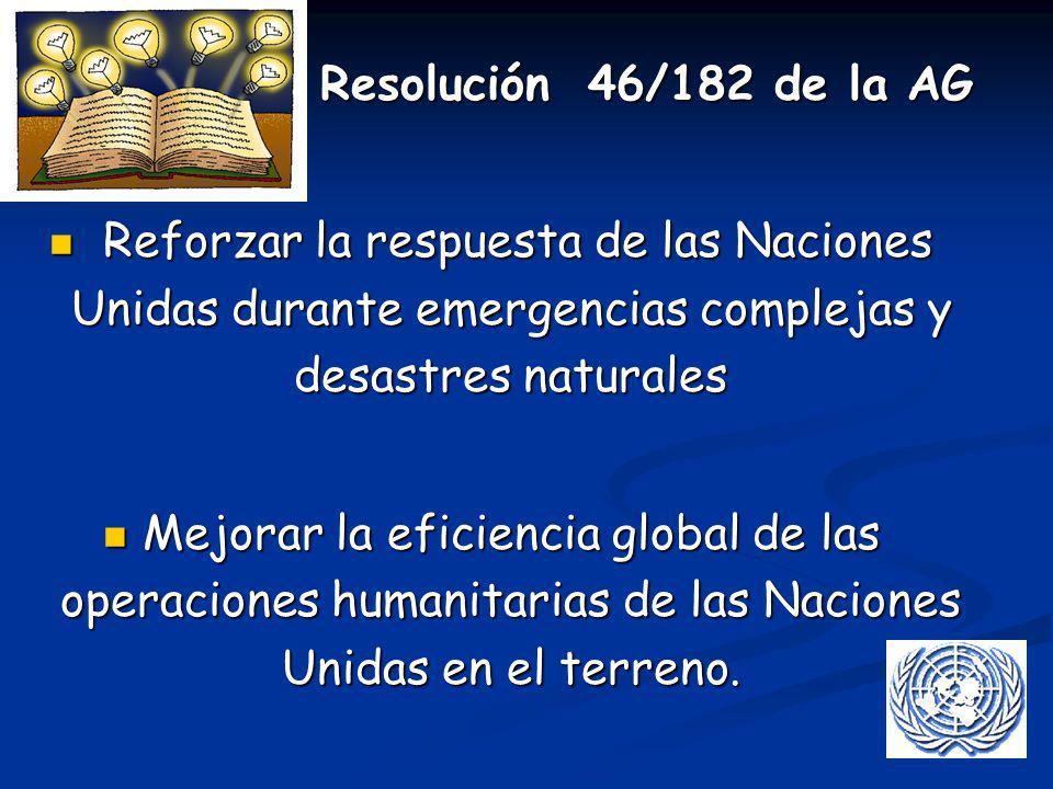 Resolución 46/182 de la AG Reforzar la respuesta de las Naciones Unidas durante emergencias complejas y desastres naturales.