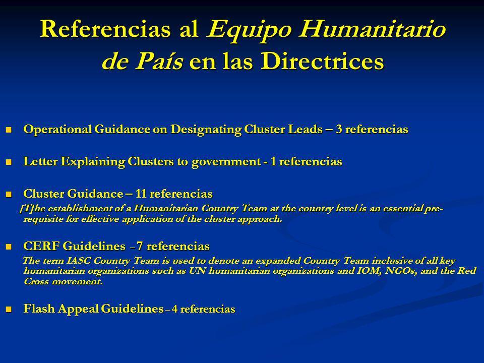 Referencias al Equipo Humanitario de País en las Directrices