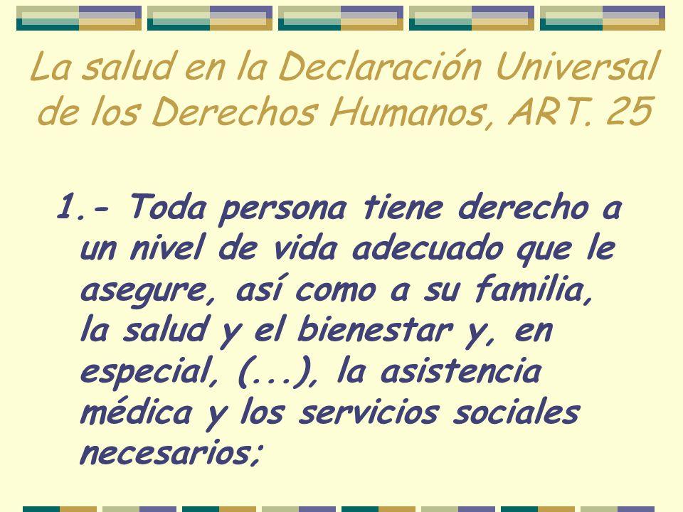 La salud en la Declaración Universal de los Derechos Humanos, ART. 25
