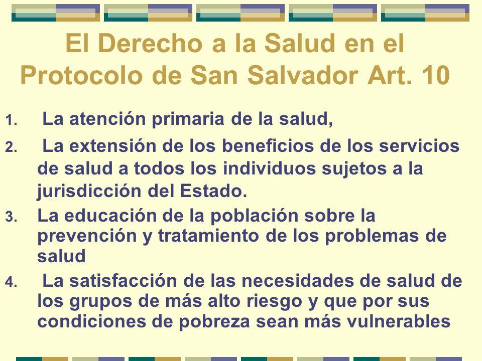 El Derecho a la Salud en el Protocolo de San Salvador Art. 10