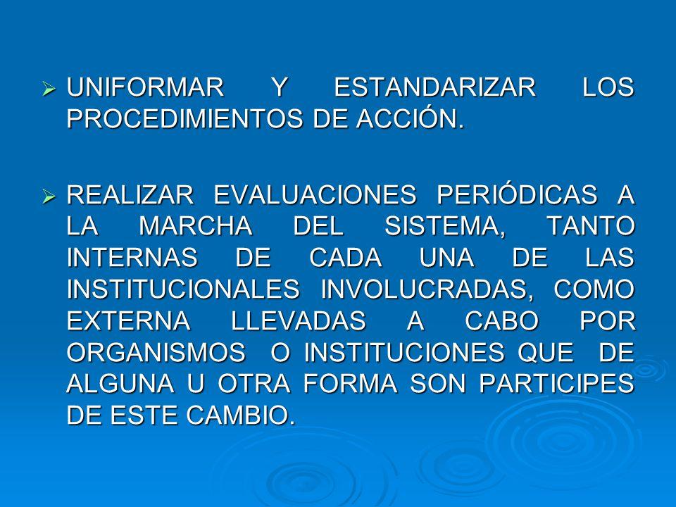 UNIFORMAR Y ESTANDARIZAR LOS PROCEDIMIENTOS DE ACCIÓN.