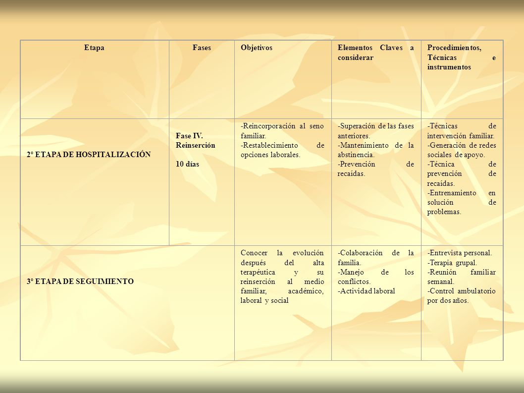 Etapa Fases. Objetivos. Elementos Claves a considerar. Procedimientos, Técnicas e instrumentos.
