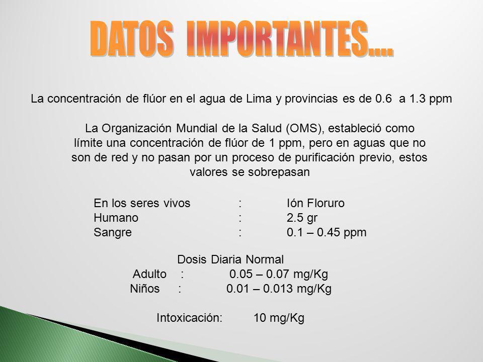 DATOS IMPORTANTES.... La concentración de flúor en el agua de Lima y provincias es de 0.6 a 1.3 ppm.