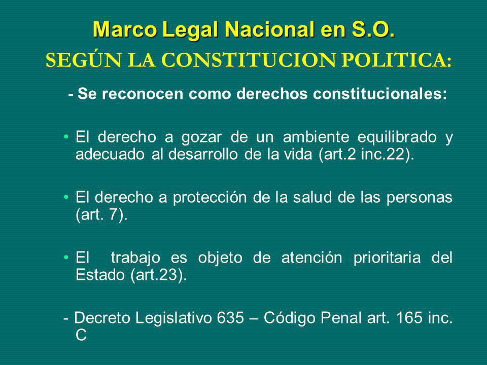 Marco Legal Nacional en S.O.