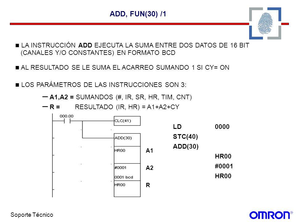 ADD, FUN(30) /1LA INSTRUCCIÓN ADD EJECUTA LA SUMA ENTRE DOS DATOS DE 16 BIT. (CANALES Y/O CONSTANTES) EN FORMATO BCD.