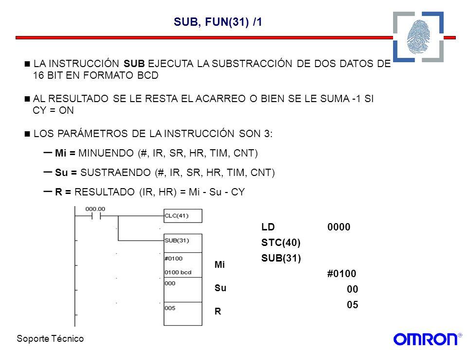 SUB, FUN(31) /1LA INSTRUCCIÓN SUB EJECUTA LA SUBSTRACCIÓN DE DOS DATOS DE. 16 BIT EN FORMATO BCD.