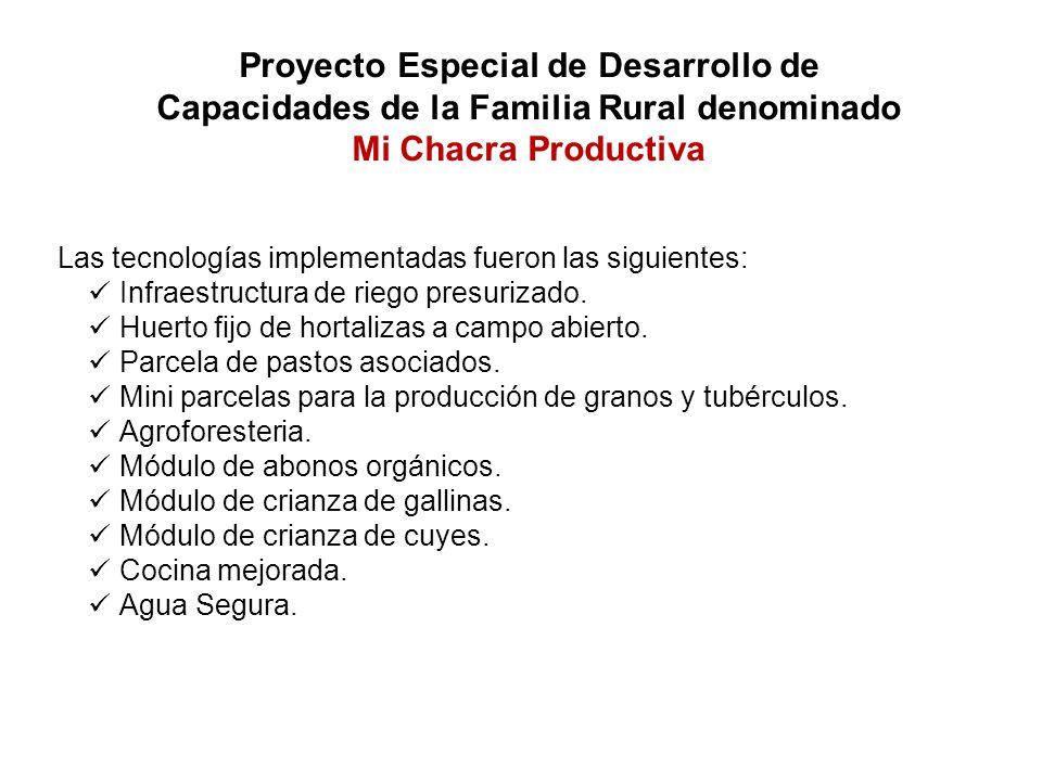 Proyecto Especial de Desarrollo de Capacidades de la Familia Rural denominado