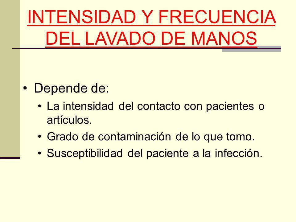 INTENSIDAD Y FRECUENCIA DEL LAVADO DE MANOS