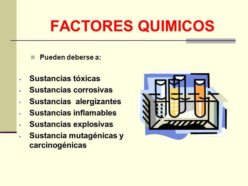 FACTORES QUIMICOS Sustancias tóxicas Sustancias corrosivas