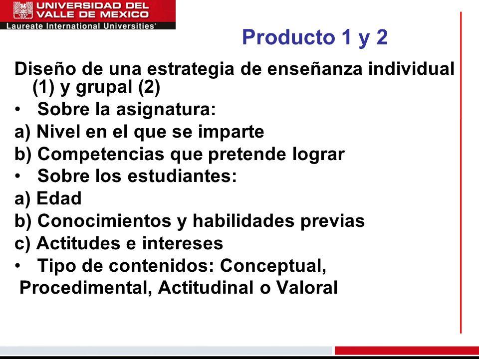 Producto 1 y 2Diseño de una estrategia de enseñanza individual (1) y grupal (2) Sobre la asignatura:
