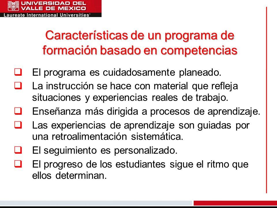 Características de un programa de formación basado en competencias