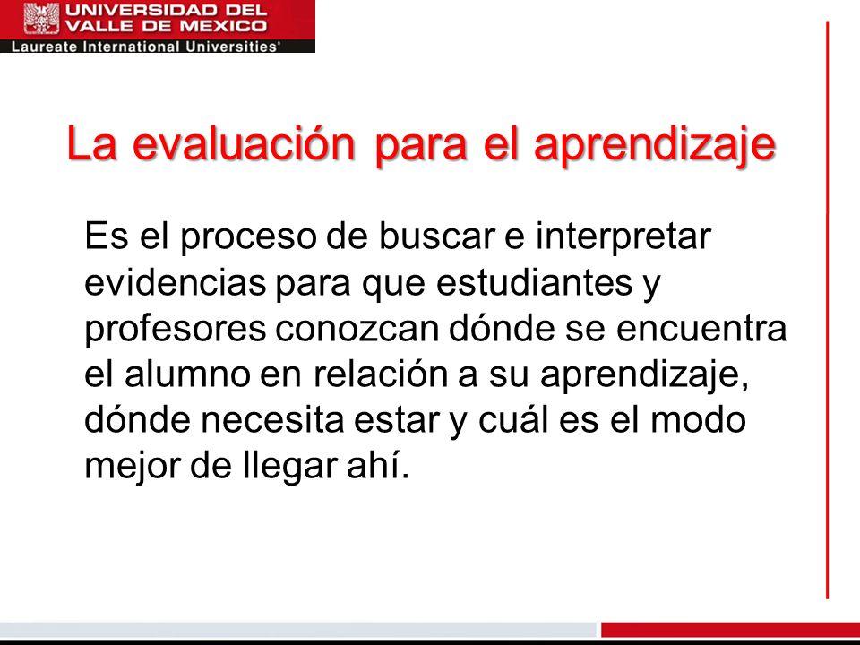 La evaluación para el aprendizaje
