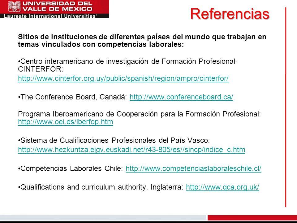 Referencias Sitios de instituciones de diferentes países del mundo que trabajan en temas vinculados con competencias laborales:
