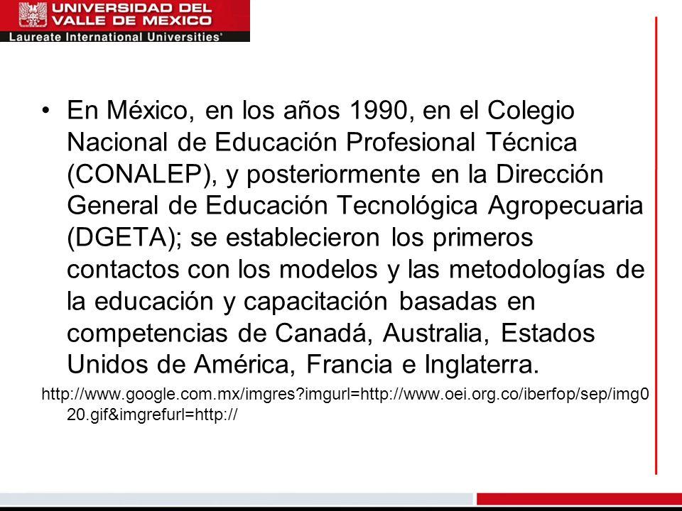 En México, en los años 1990, en el Colegio Nacional de Educación Profesional Técnica (CONALEP), y posteriormente en la Dirección General de Educación Tecnológica Agropecuaria (DGETA); se establecieron los primeros contactos con los modelos y las metodologías de la educación y capacitación basadas en competencias de Canadá, Australia, Estados Unidos de América, Francia e Inglaterra.
