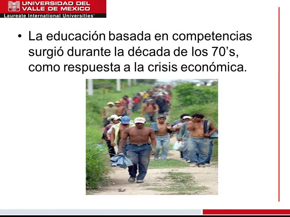 La educación basada en competencias surgió durante la década de los 70's, como respuesta a la crisis económica.