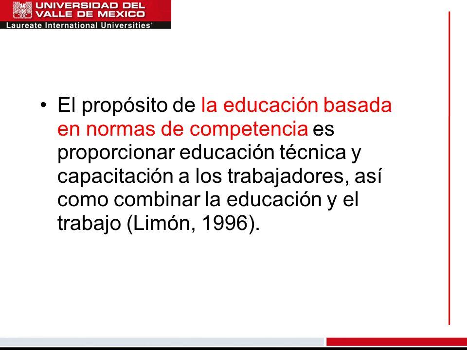 El propósito de la educación basada en normas de competencia es proporcionar educación técnica y capacitación a los trabajadores, así como combinar la educación y el trabajo (Limón, 1996).
