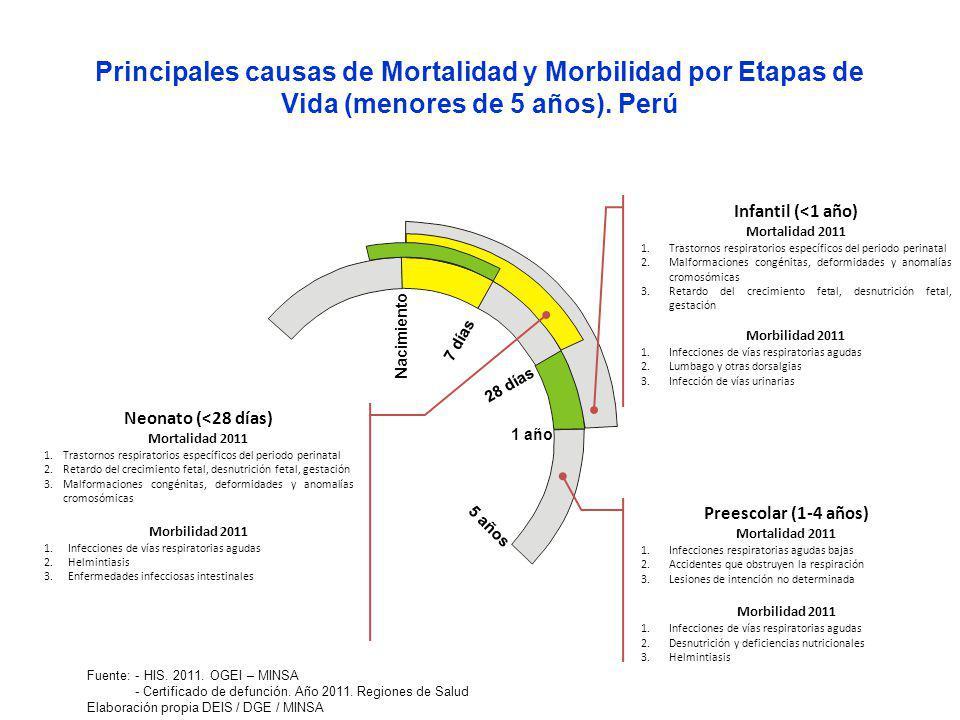 Principales causas de Mortalidad y Morbilidad por Etapas de Vida (menores de 5 años). Perú