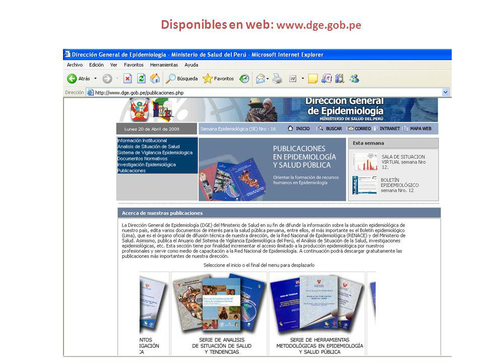 Disponibles en web: www.dge.gob.pe