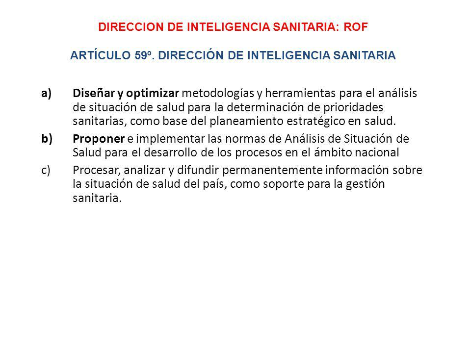 DIRECCION DE INTELIGENCIA SANITARIA: ROF