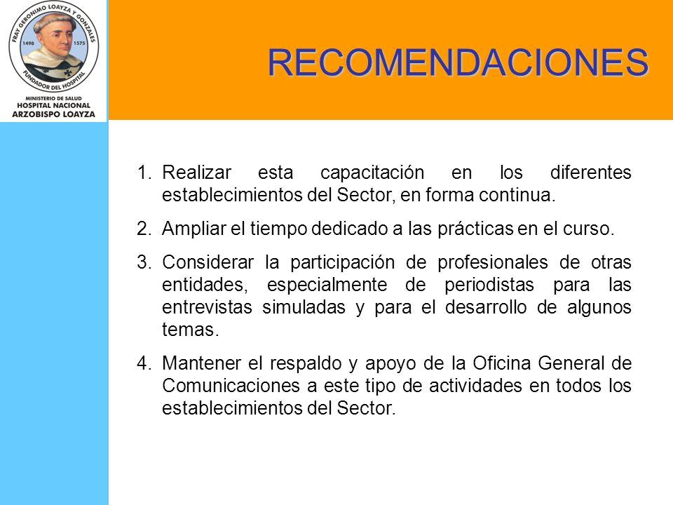 RECOMENDACIONES Realizar esta capacitación en los diferentes establecimientos del Sector, en forma continua.