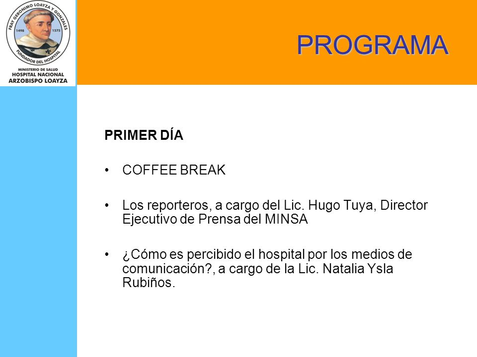 PROGRAMA PRIMER DÍA COFFEE BREAK