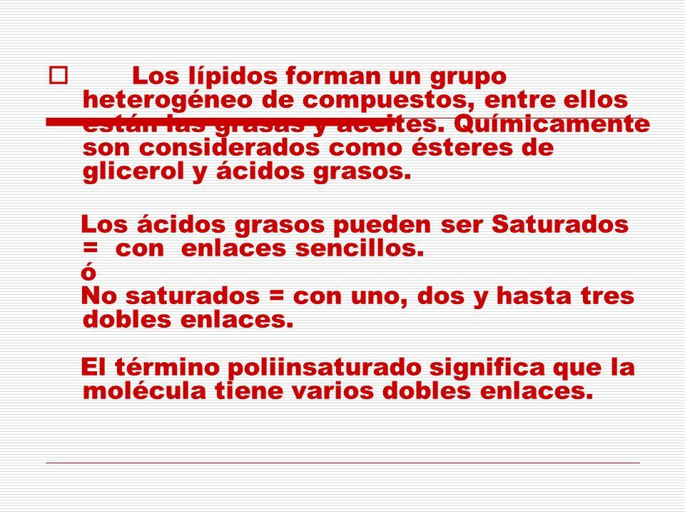 Los lípidos forman un grupo heterogéneo de compuestos, entre ellos están las grasas y aceites. Químicamente son considerados como ésteres de glicerol y ácidos grasos.