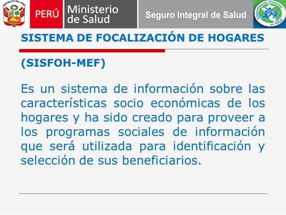 SISTEMA DE FOCALIZACIÓN DE HOGARES