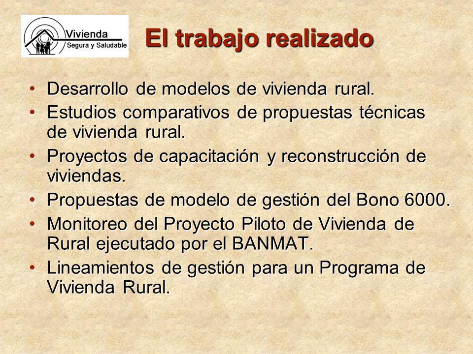 El trabajo realizado Desarrollo de modelos de vivienda rural.