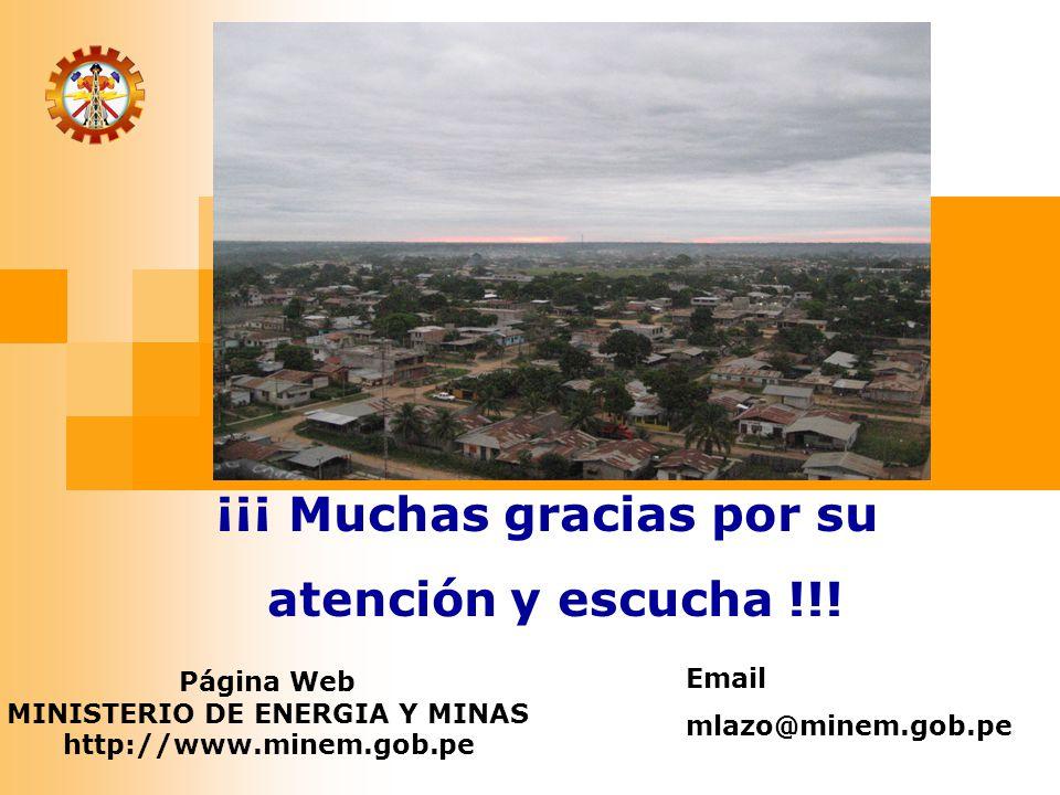 ¡¡¡ Muchas gracias por su MINISTERIO DE ENERGIA Y MINAS