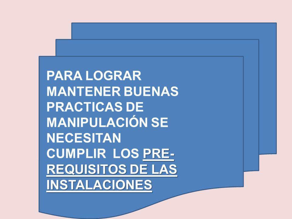 PARA LOGRAR MANTENER BUENAS PRACTICAS DE MANIPULACIÓN SE NECESITAN CUMPLIR LOS PRE-REQUISITOS DE LAS INSTALACIONES
