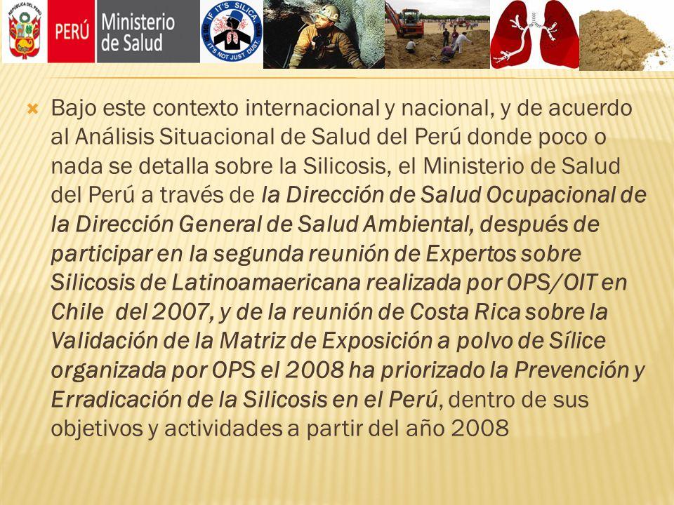 Bajo este contexto internacional y nacional, y de acuerdo al Análisis Situacional de Salud del Perú donde poco o nada se detalla sobre la Silicosis, el Ministerio de Salud del Perú a través de la Dirección de Salud Ocupacional de la Dirección General de Salud Ambiental, después de participar en la segunda reunión de Expertos sobre Silicosis de Latinoamaericana realizada por OPS/OIT en Chile del 2007, y de la reunión de Costa Rica sobre la Validación de la Matriz de Exposición a polvo de Sílice organizada por OPS el 2008 ha priorizado la Prevención y Erradicación de la Silicosis en el Perú, dentro de sus objetivos y actividades a partir del año 2008
