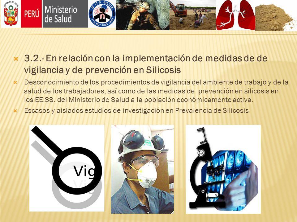 3.2.- En relación con la implementación de medidas de de vigilancia y de prevención en Silicosis