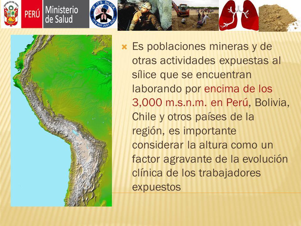 Es poblaciones mineras y de otras actividades expuestas al sílice que se encuentran laborando por encima de los 3,000 m.s.n.m.