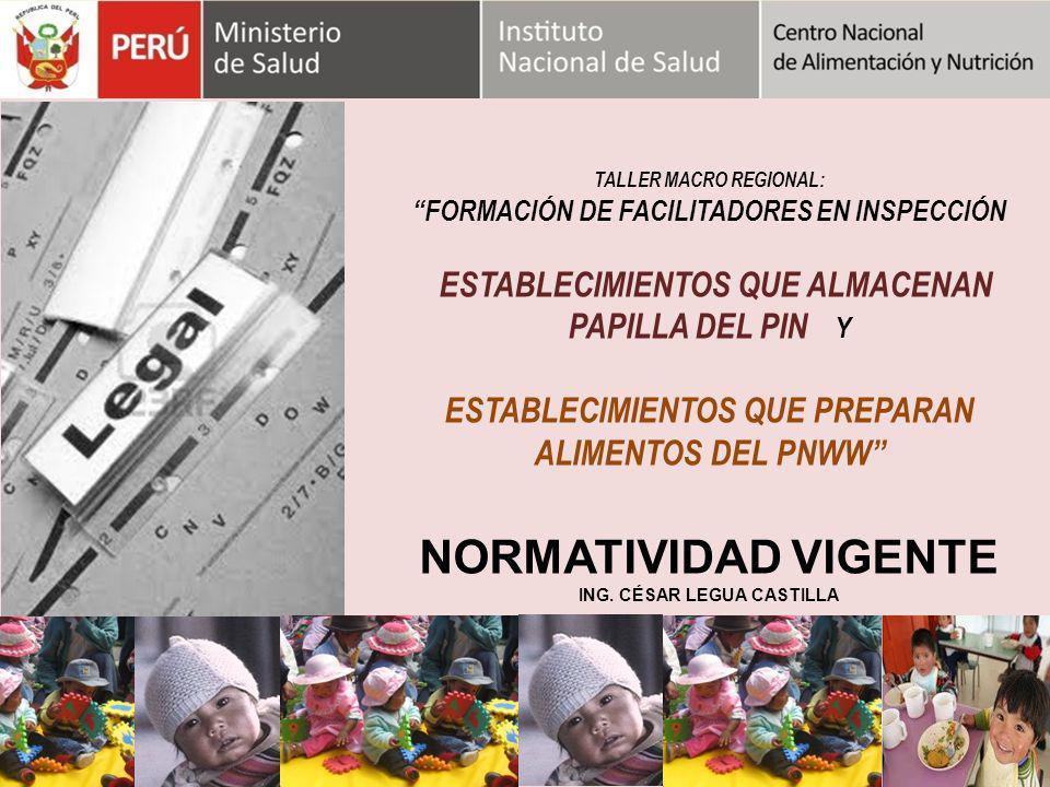 NORMATIVIDAD VIGENTE ESTABLECIMIENTOS QUE PREPARAN ALIMENTOS DEL PNWW