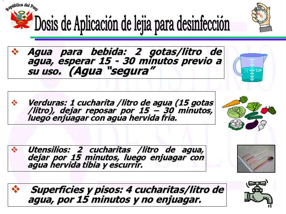 Dosis de Aplicación de lejia para desinfección