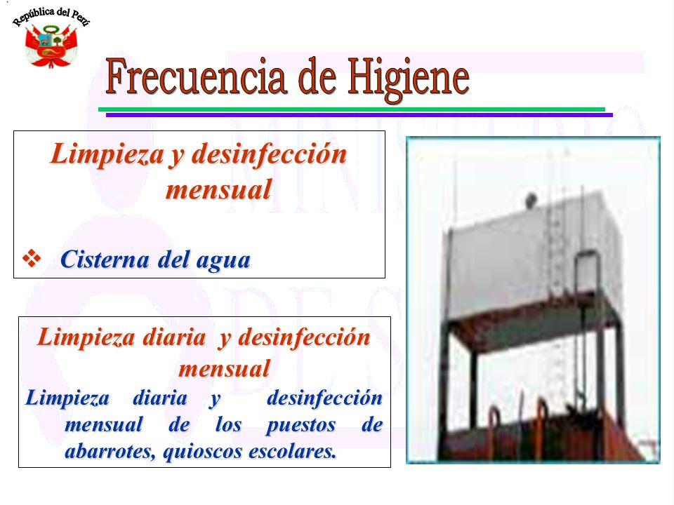 Limpieza y desinfección mensual Limpieza diaria y desinfección mensual