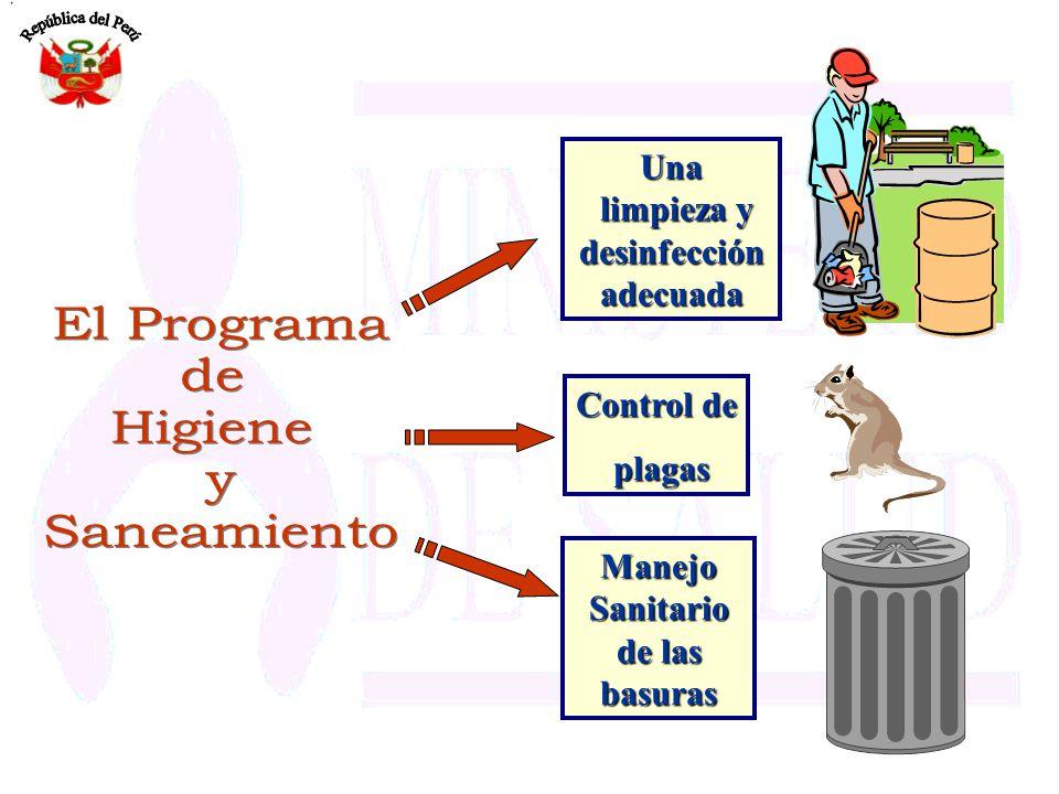El Programa de Higiene y Saneamiento Una limpieza y desinfección