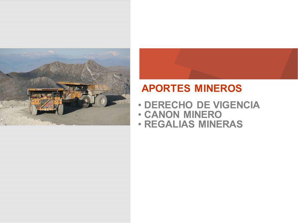 APORTES MINEROS DERECHO DE VIGENCIA CANON MINERO REGALIAS MINERAS