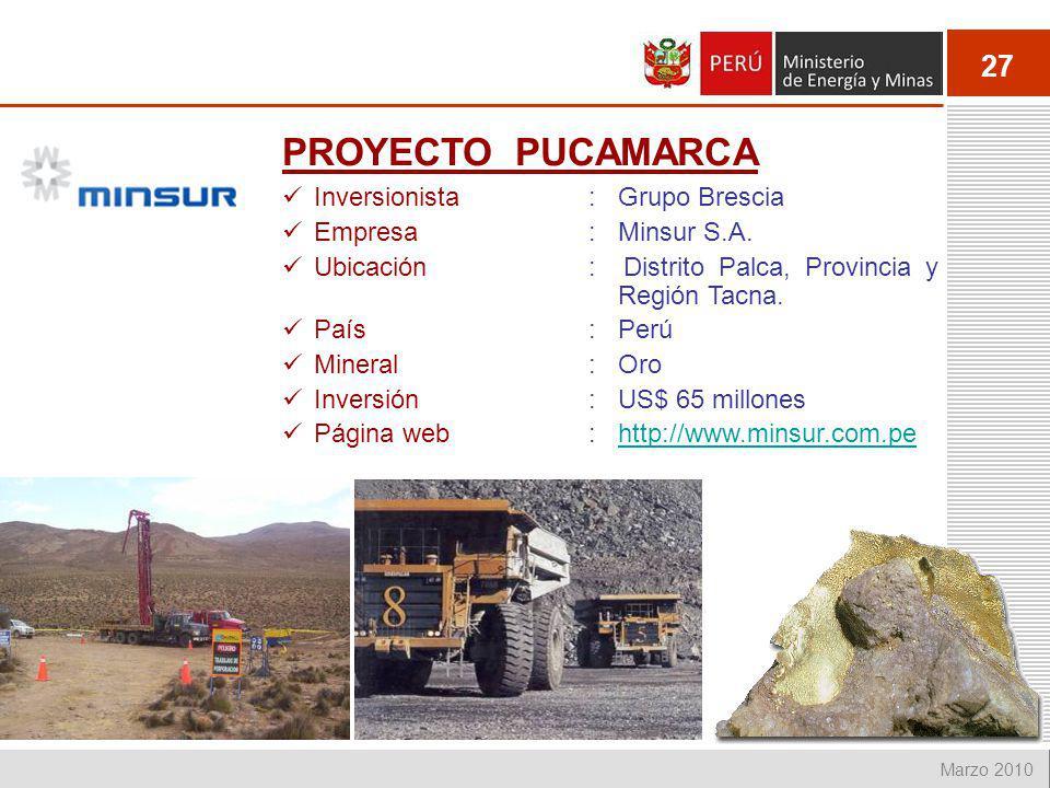 PROYECTO PUCAMARCA Inversionista : Grupo Brescia Empresa : Minsur S.A.