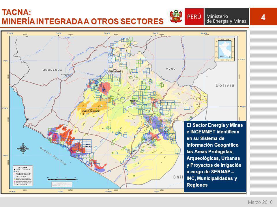 TACNA: MINERÍA INTEGRADA A OTROS SECTORES