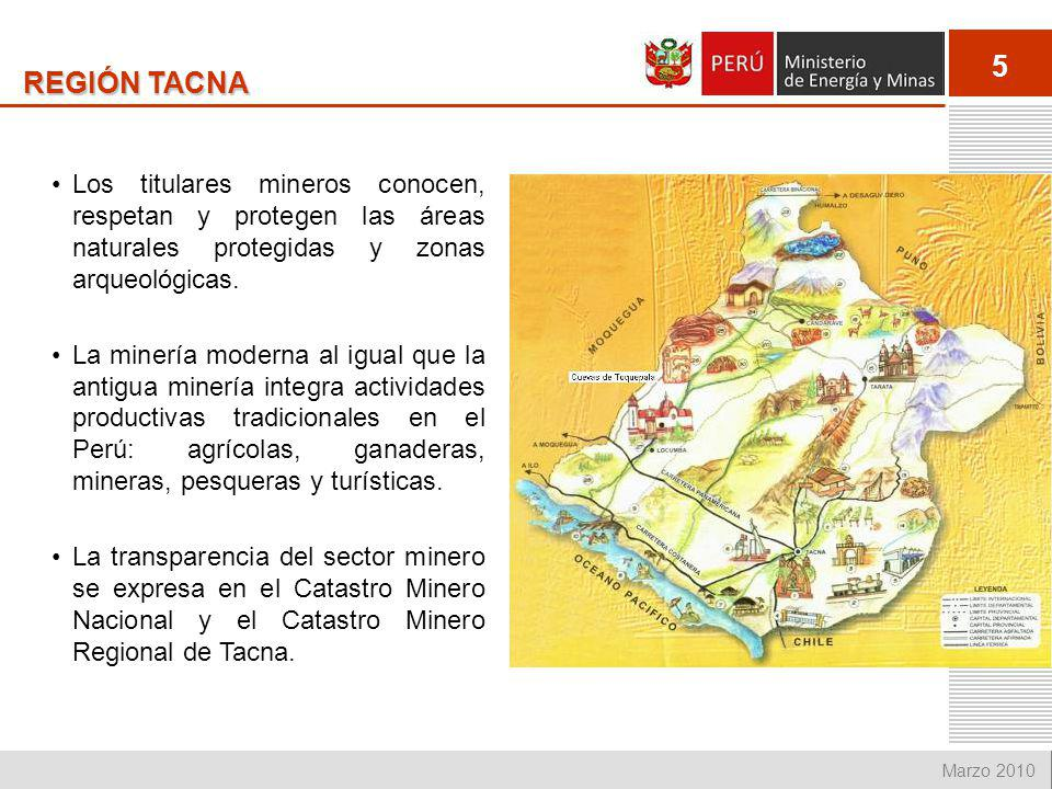 REGIÓN TACNA Los titulares mineros conocen, respetan y protegen las áreas naturales protegidas y zonas arqueológicas.